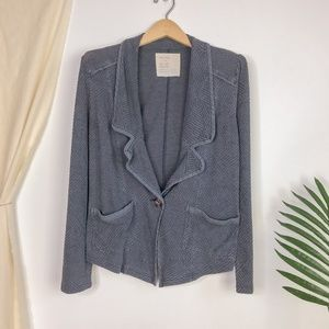 Vintage Free People Grey Chevron Knit Blazer Cardi